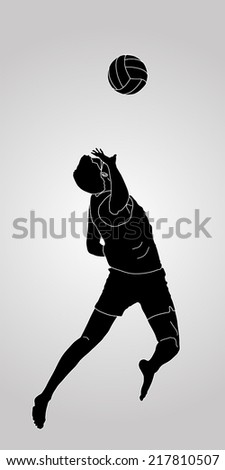 Beach volleyball player vector silhouette illustration isolated on background - stock vector