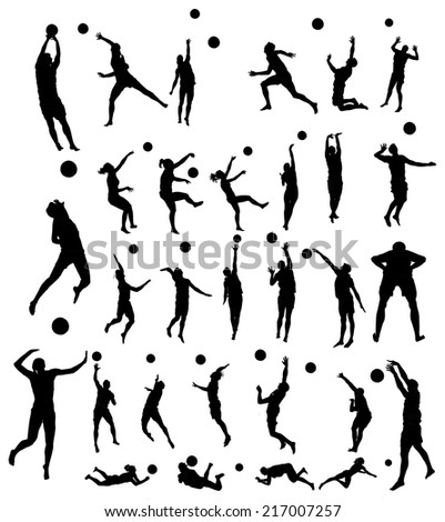 beach volleyball players vector silhouette illustration isolated on white background.  - stock vector