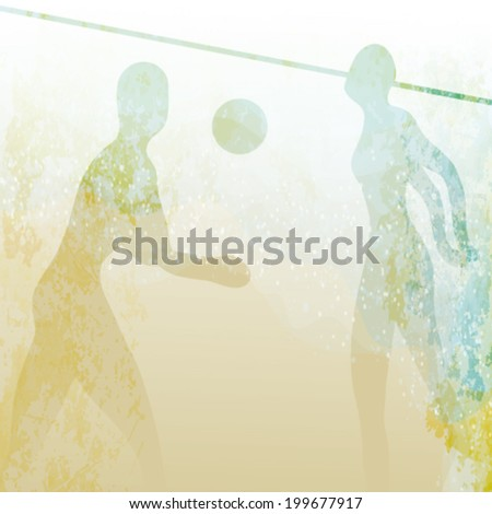 BEACH VOLLEYBALL / Retro card with people on the sandy beach   - stock vector