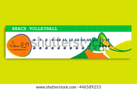 Beach Volleyball 2016 Summer Games schedule. Time table of competitions. Golden medal.   Sporting Championship International Beach Volley Match Competition. Sport Info  graphic olympics Volley Vector - stock vector