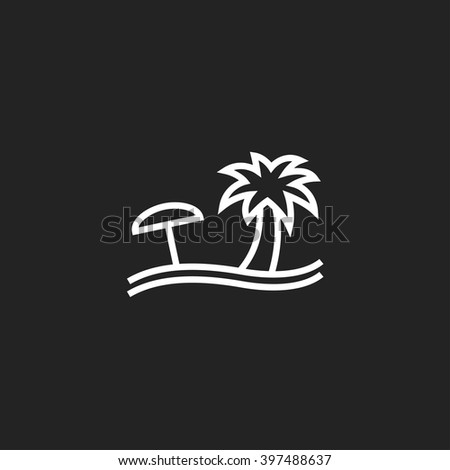 Beach White Outline Icon on Black Background - stock vector