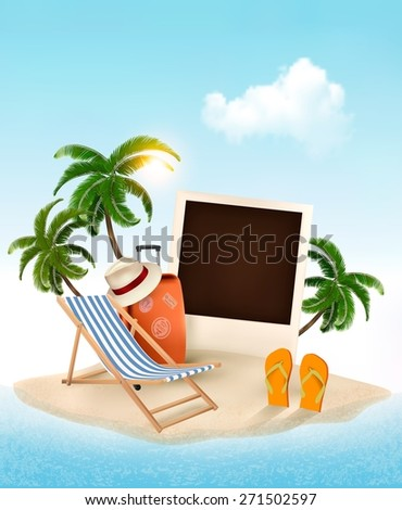 Beach with a palm tree, photo and a beach chair. Summer vacation concept background. Vector.  - stock vector