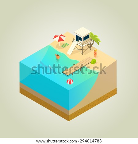 beach with lifeguard tower, shark and mole, isometric illustration - stock vector