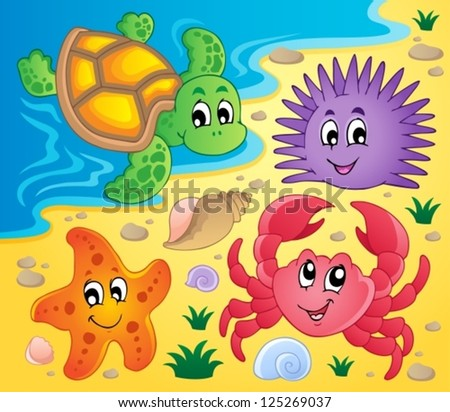 Beach with shells and sea animals 3 - vector illustration. - stock vector