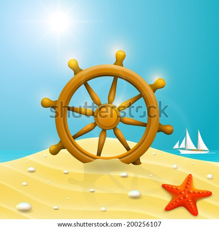 Beach with the wheel of the ship. Vector illustration - stock vector