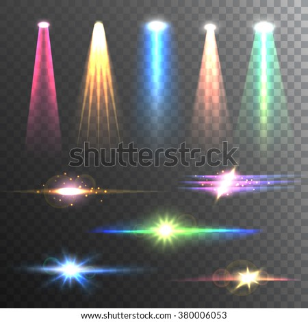 Beam lights of different color and shapes projections gleaming in the darkness composition banner abstract vector illustration   - stock vector
