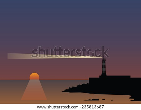 Beam of a lighthouse at sunset. Vector illustration. - stock vector