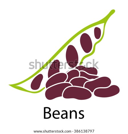 Beans icon on white background. Vector illustration. - stock vector
