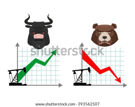 Bear and bull. Quotations of oil production. Oil rig. Depreciation of petroleum. Global rise in petrol prices. Green up arrow. Traders bulls. Red down arrow traders bears - stock vector