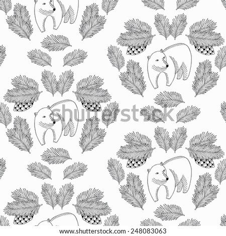 Bear and cone seamless pattern. Vector illustration.  - stock vector