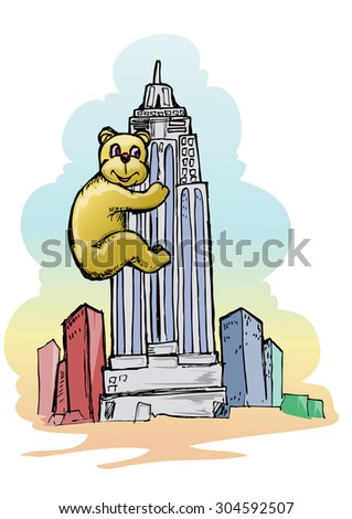 Bear climbing tall building cartoon hand draw illustration - stock vector