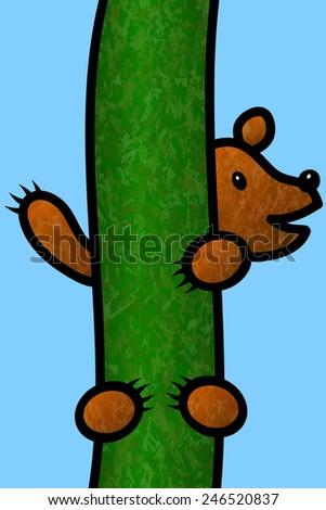 Bear Cub Climbing a Tree - stock vector