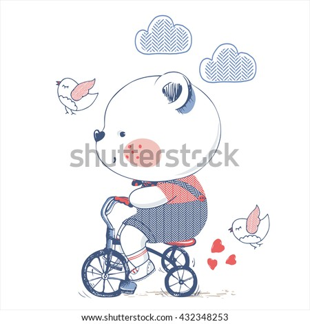 bear/hand drawn vector illustration of Cute Bear Riding a Bicycle/Tricycle/can be used for kid's or baby's shirt design/fashion print design/fashion graphic/t-shirt/kids wear/tee - stock vector
