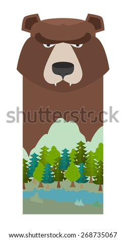 bear. Head grizzly bear. Template for reserve and Forest Park. Landscape: mountain, River, forest, sky - stock vector