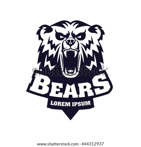 Bear Head Logo Mascot Emblem on shield. Talisman college sports teams ... Grizzly Bear Face Logo