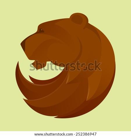 bear head vector logo, design template elements - stock vector
