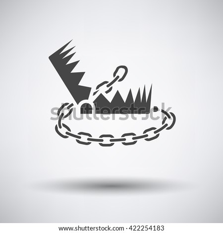 Bear hunting trap  icon on gray background with round shadow. Vector illustration. - stock vector