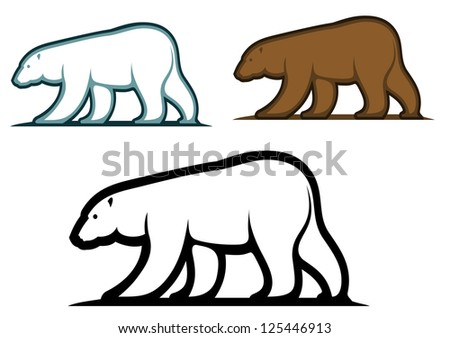 Bear mascots in cartoon style isolated on white background, such as idea of logo. Jpeg version also available in gallery - stock vector