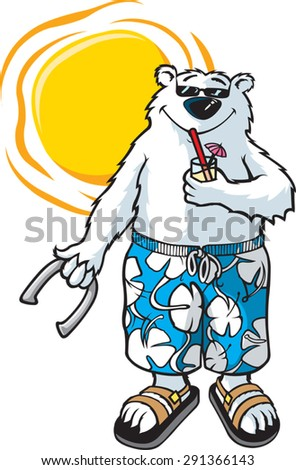 Bear-N-Sun  A cartoon Bear in Board shorts enjoying the Sun. Layered vector file. - stock vector