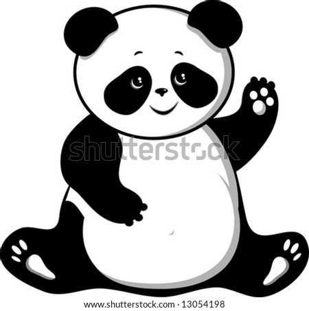 Bear panda isolated on a white background VECTOR (See Jpeg Also In My Portfolio) - stock vector