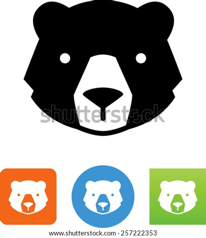 Bear's head symbol for download.  Vector icons for video, mobile apps, Web sites and print projects. - stock vector