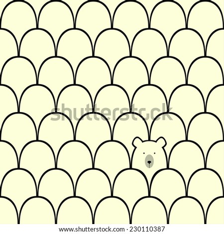 Bear seamless cartoon pattern - stock vector