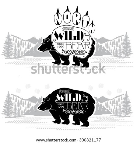 Bear silhouettes on the landscape background. Wild bear Canada lettering on bear - stock vector