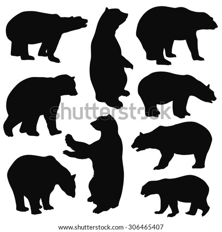 Bear Silhouettes on white background - stock vector