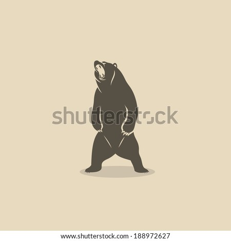 Bear standing on two legs - vector illustration - stock vector