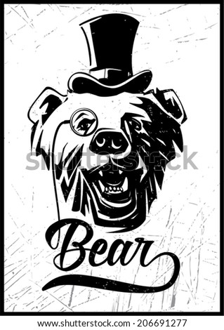 Bear. Vintage label for t-shirt print - stock vector