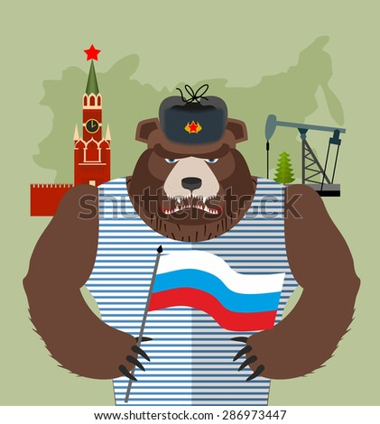 Bear with ear flaps with  flag of Russia. Background of  Moscow Kremlin and oil rigs. Vector illustration - stock vector