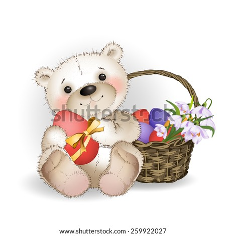 Bear with Easter eggs and a basket of eggs on white background - stock vector