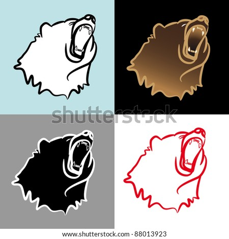 Bear with open mouth - stock vector