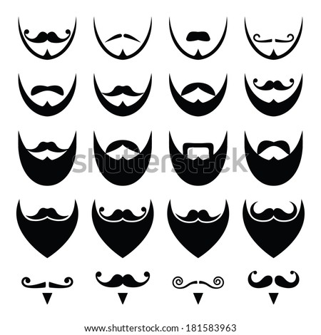 Beard with moustache or mustache vector icons set  - stock vector