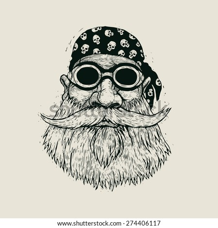 bearded biker in motorcycle sunglasses and bandana. hand drawn cartoon character. engraving style. vector illustration - stock vector