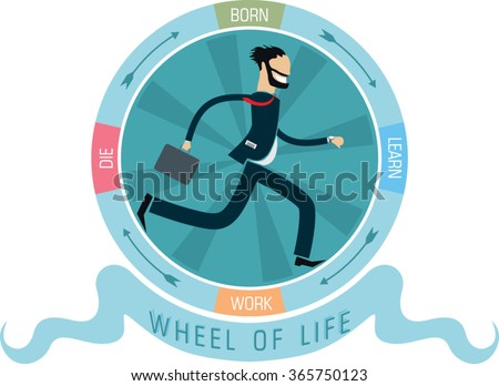 bearded business man with suitcase run inside life circle with inscription born, learn, work, die. flat style simple vector illustration - stock vector
