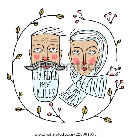 Bearded Man and No Beard Woman Portraits. Faces of two people drawing. Vector illustration EPS8. - stock vector