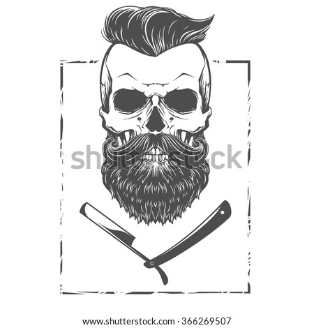 Bearded skull illustration - stock vector