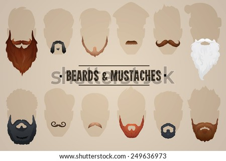 Beards and mustaches, different types. Vector Illustration - stock vector