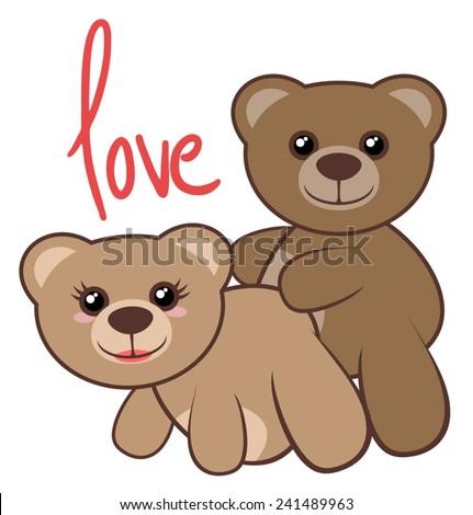 Bears love - stock vector