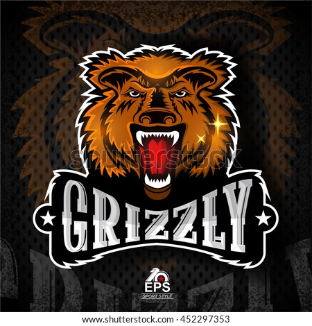 Beast face from the front with bared teeth. Logo for any sport team grizzly - stock vector