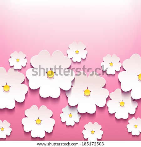 Beautiful abstract floral trendy background with pink 3d flower sakura. Stylish modern background. Greeting or invitation card for wedding, birthday and life events. Vector illustration - stock vector
