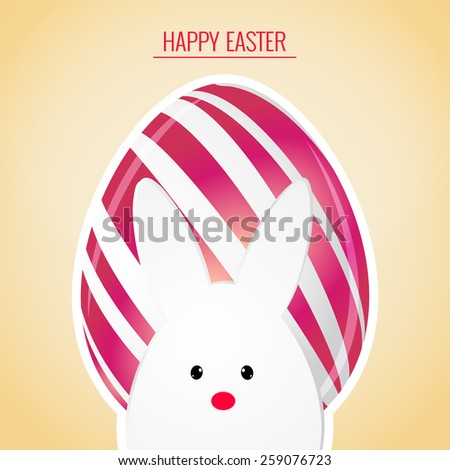 beautiful abstract for Easter with pink coloured egg with white coloured bunny in a golden coloured background. - stock vector