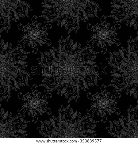 Beautiful abstract pattern with floral ornaments - stock vector