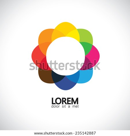 beautiful abstract spring flower with petals in different colors - concept vector. This graphic also represents summer blossoms, floral icons, rainbow colors, color wheel - stock vector