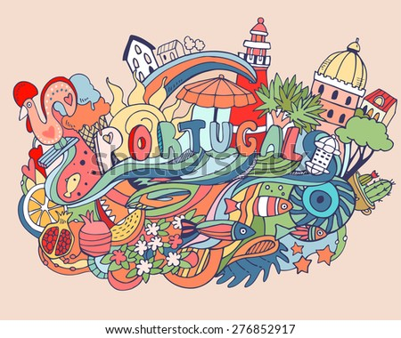 Beautiful abstract vector illustration with Portugal cartoon elements - stock vector