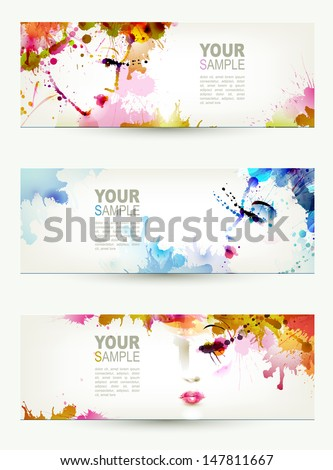 Beautiful abstract women faces on three headers - stock vector