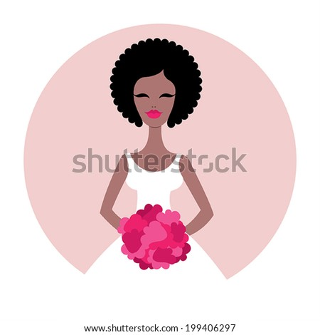 Beautiful African American bride. Wedding vector illustration - stock vector
