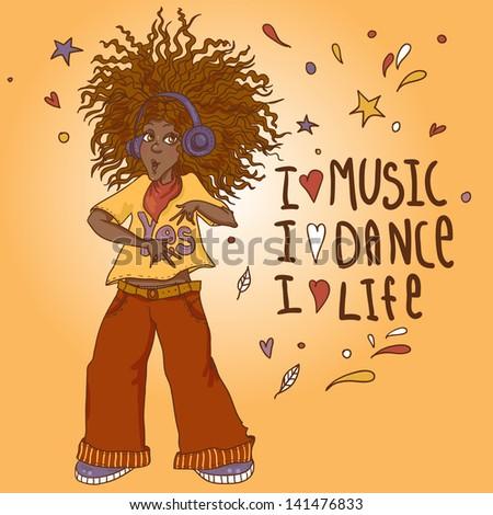 Beautiful African American woman in headphones - stock vector