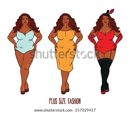 Beautiful African american woman with curves, plus size model in three looks, vector illustration  - stock vector